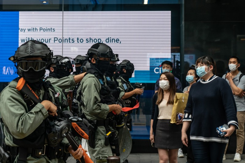 Riot police in Hong Kong