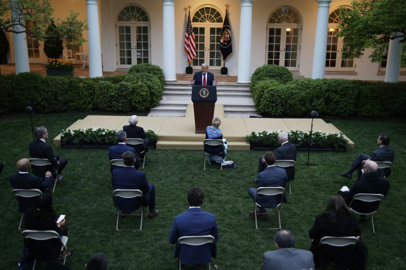 U.S. President Donald Trump speaks during the daily briefing of the White House Coronavirus Task Force in the Rose Garden at the White House in Washington on April 14.