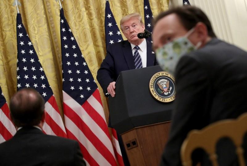 U.S. President Donald Trump speaks at the White House April 30, 2020 in Washington, D.C.