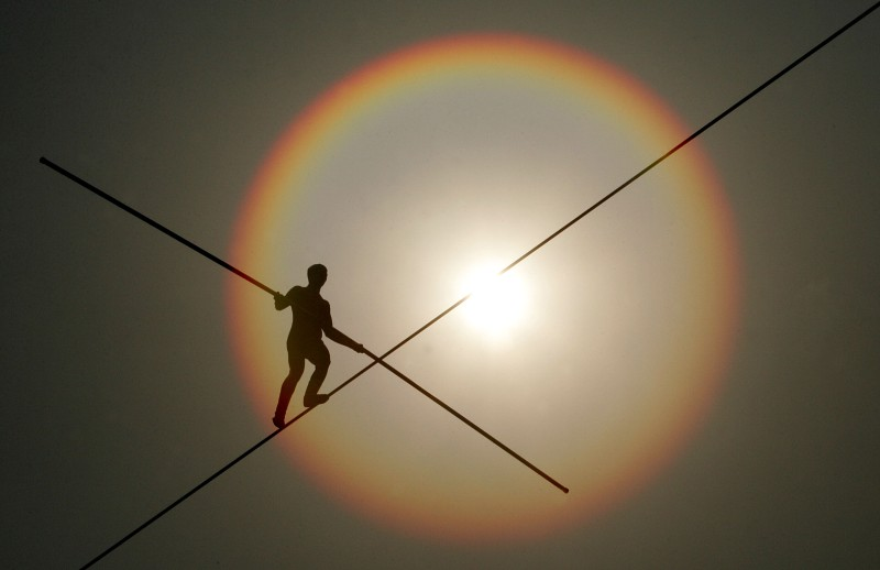 Bekhzod Tashkenbaev of Uzbekistan participates in the first World High Wire Championships, over the Han River in Seoul, on May 3, 2007.