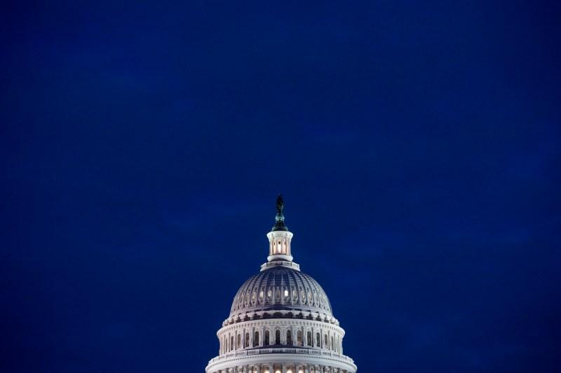 The U.S. Capitol at dusk in Washington on Feb. 6, 2018.
