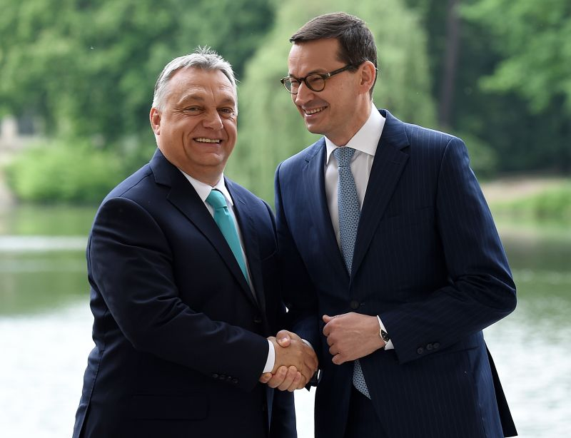 Polish Prime Minister Mateusz Morawiecki shakes hands with Hungarian Prime Minister Viktor Orban during a meeting at the Palace on the Isle in Warsaw's Lazienki Park on May 14, 2018.