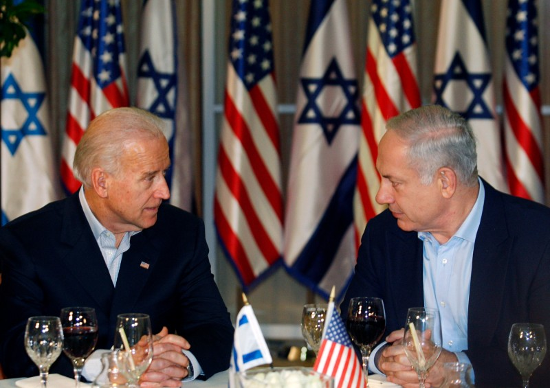 U.S. Vice President Joe Biden sits with Israeli Prime Minister Benjamin Netanyahu before a dinner at the prime minister's residence in Jerusalem on March 9, 2010.