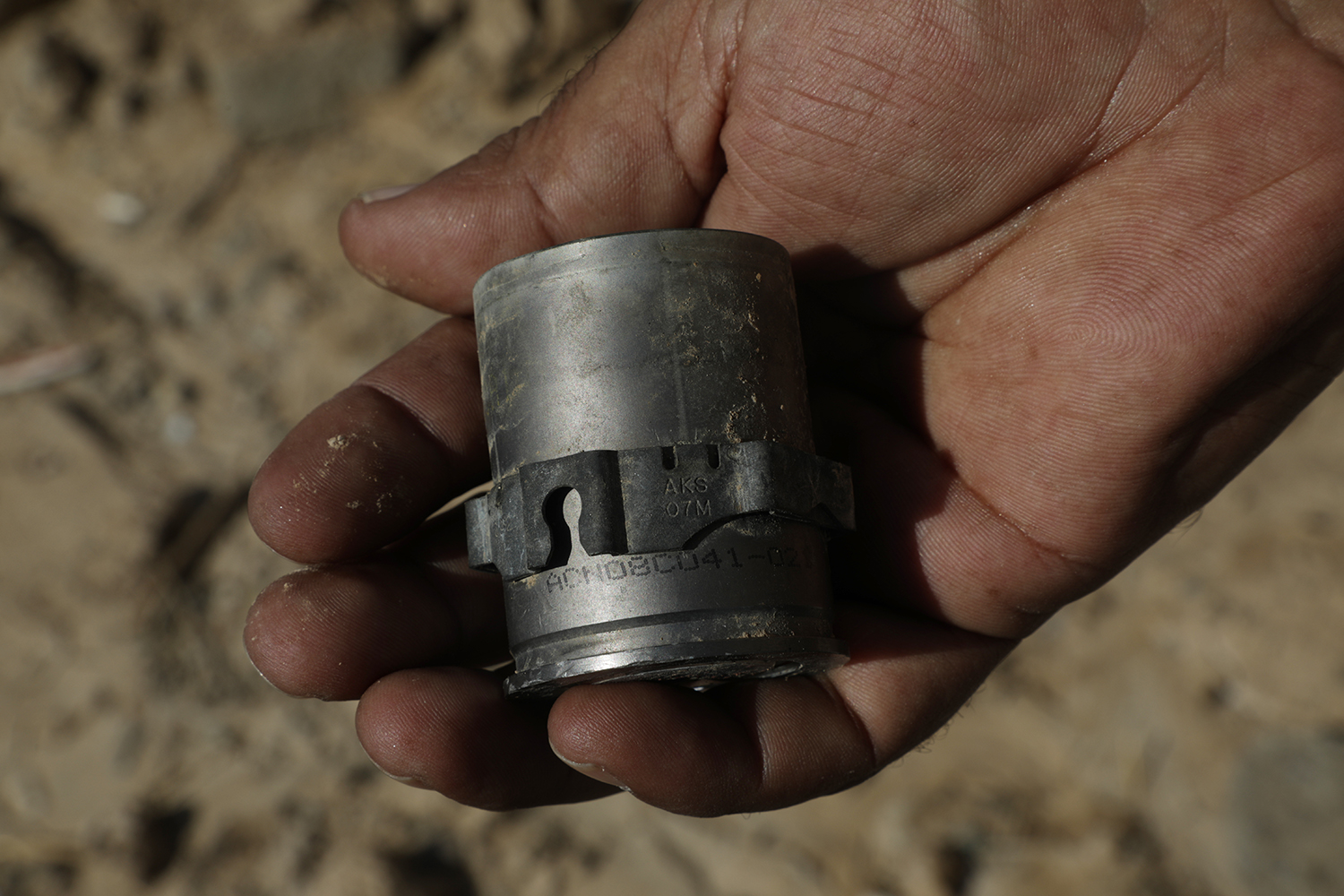 Grenade casings, shown on Sept. 19, 2019, were found on the shores of the Tigris River facing Kanoos Island, where an American armored vehicle reportedly fired rounds toward the island. A weapons expert identified the casing as 40 mm grenades, fired from an auto grenade launcher like an MK-19.