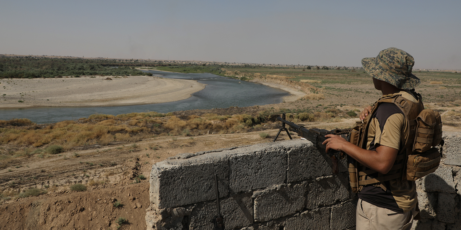 Kanoos Island, surrounded by the Tigris River, is seen from the base staffed by local security forces on Sept. 19, 2019. During an Aug. 10 raid, militants took advantage of forests and tunnels to ambush soldiers as they attempted to clear the island.