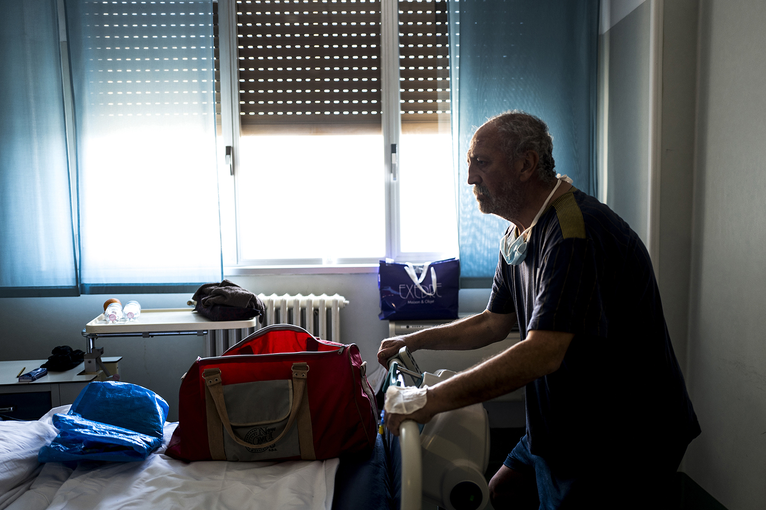Maurizio Melchiorre trains to regain his strength as he prepares to return home after 33 days at Santo Spirito Hospital on April 27. Melchiorre had to be intubated twice because his lungs were not able to ventilate on their own.