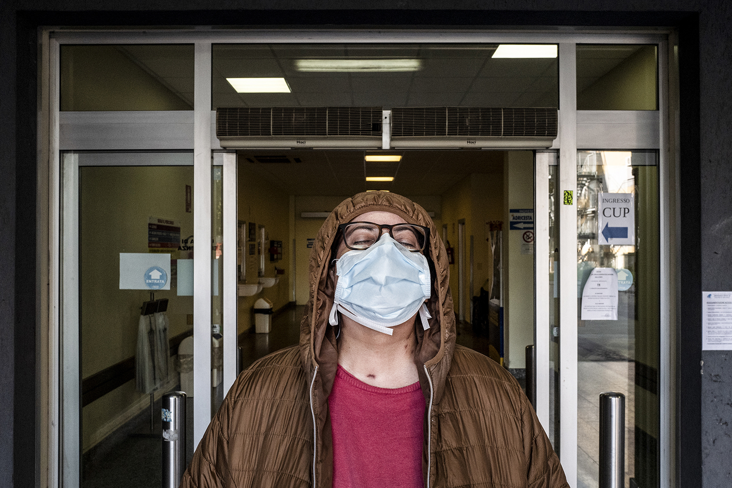De Nicolo walks out of Santo Spirito Hospital on May 5 on her way home after 58 days in the hospital.