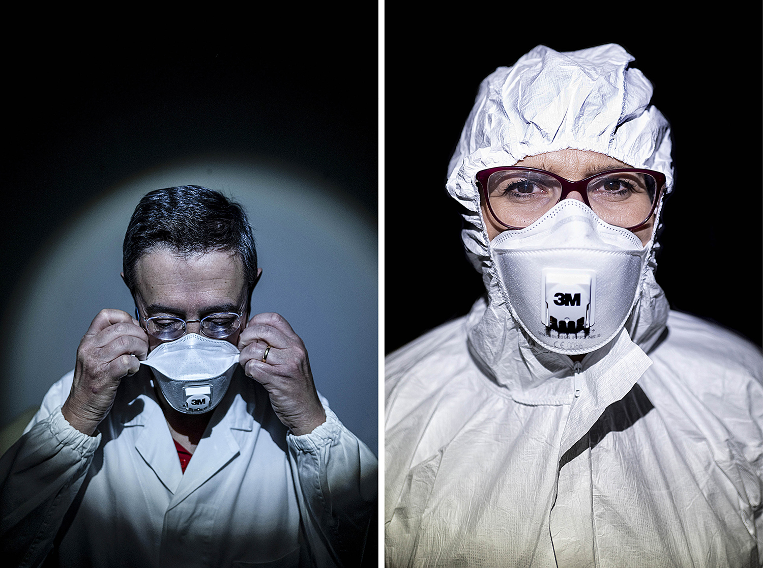 Left: Giustino Parruti, 58, the director of the infectious disease unit at Santo Spirito Hospital in Pescara and a member of the region's task force on the coronavirus emergency. Right: Antonella Frattari, 47, the head of intensive care at Santo Spirito Hospital.