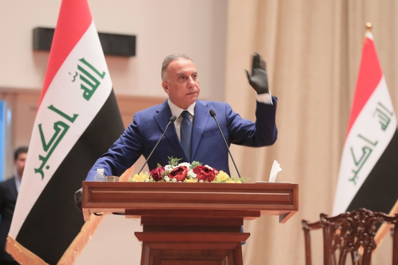 Iraqi Prime Minister-designate Mustafa al-Kadhimi makes a speech before the Iraqi Parliament in Baghdad on May 6.