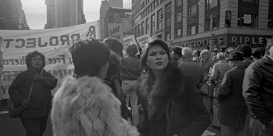 "Hundreds of New Yorkers protest near Times Square on Nov. 1, 1975, in the wake of President Gerald Ford's speech denying federal assistance to spare New York City from bankruptcy. ""[T]he spectacular failure of the New York City government crystallized the antigovernment ethos that was gaining nationally during the 1970s,"" Kim Phillips-Fein writes in ""Fear City."""