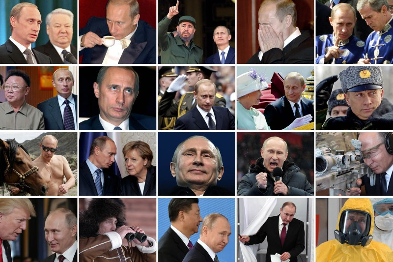 Various photos of Russian President Vladimir Putin