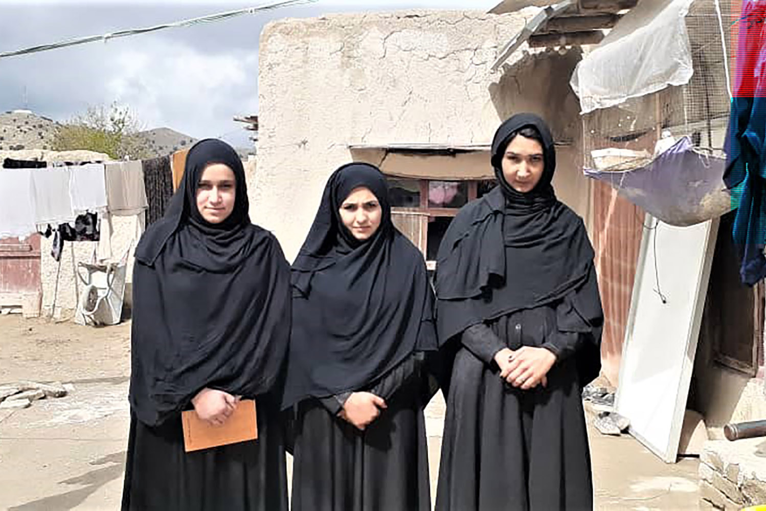 "Some of ur-Rahman's students on April 1. Several are related to Taliban members. ""My brother is a Taliban fighter. He encouraged me to visit school,"" said Latifa (right)."