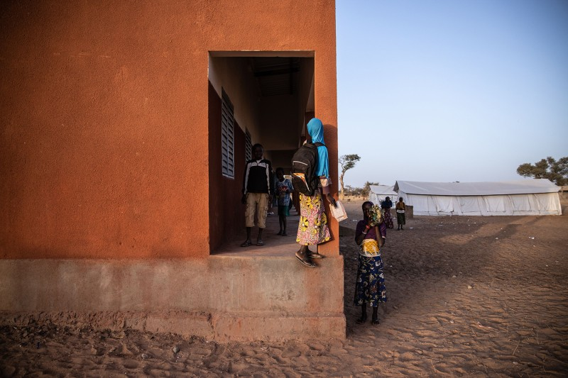 Primary school children leave their classrooms in Dori, Burkina Faso, on Feb. 3. 2020.