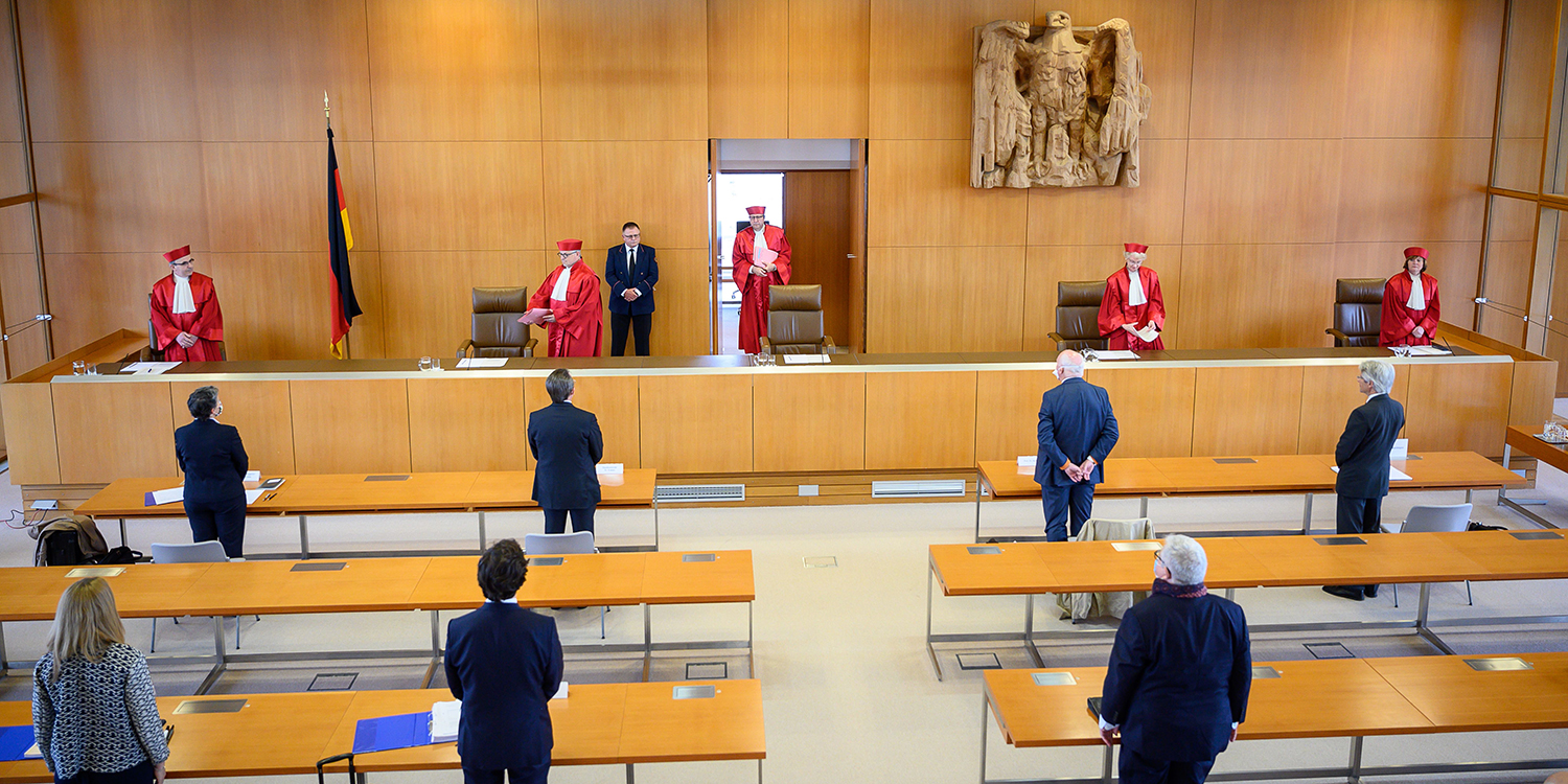 The judges of the German constitutional court arrive at the Constitutional court in Karlsruhe to give their ruling on the European Central Bank on on May 5.
