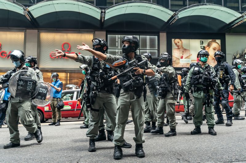 Riot police secure an area during a rally in Hong Kong's Central district on May 27.