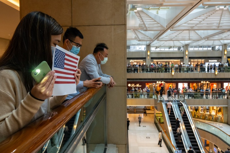 Protesters attend a rally in a shopping mall on May 28 in Hong Kong.
