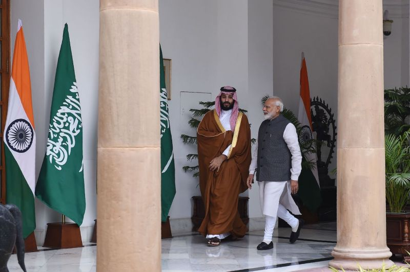 Indian Prime Minister Narendra Modi (right) arrives with Saudi Crown Prince Mohammed bin Salman prior to a meeting  in New Delhi on Feb. 20, 2019.