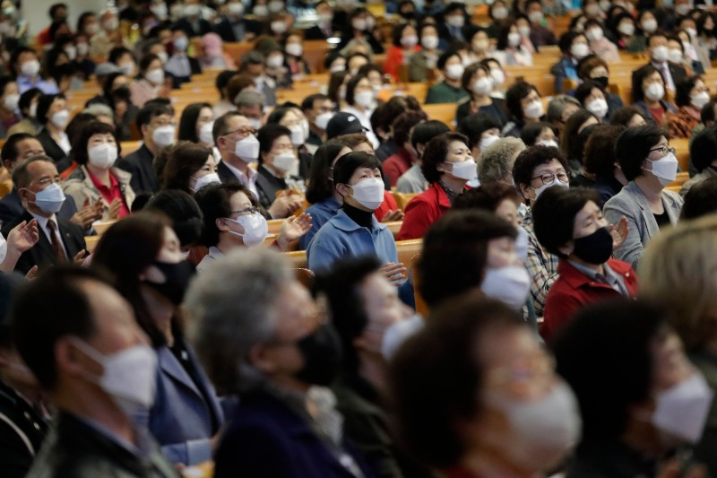 Christians wearing face masks attend a service at the Yoido Full Gospel Church in Seoul, South Korea, Sunday, May 10.