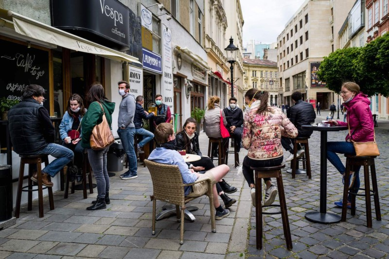 People outside after Slovakia's government loosens coronavirus restrictions.
