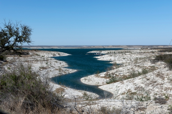 A portion of the Amistad National Recreation Area, outside Del Rio in Val Verde County, Texas, is pictured in 2014. Local environmental advocates worry that the wind farm could harm the area's pristine aquifers and migratory routes for eagles, bats, and butterflies.