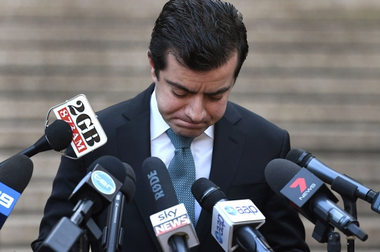 Australian Labor Party Sen. Sam Dastyari apologizes in Sydney on Sept. 6, 2016, after asking a company with links to the Chinese government to pay a bill incurred by his office.