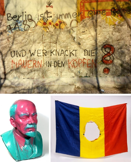 "Clockwise from top: A segment of the Berlin Wall is photographed in West Germany, circa January 1989; the Communist coat of arms in the center of a flag of the Socialist Republic of Romania was removed in 1989; and a bust of Lenin, made during the mid-1960s, was painted pink and blue by protesters in 1989 during one of the weekly ""Monday demonstrations"" in the East German City of Leipzig, preceding the fall of the Berlin Wall on Nov. 9, 1989."