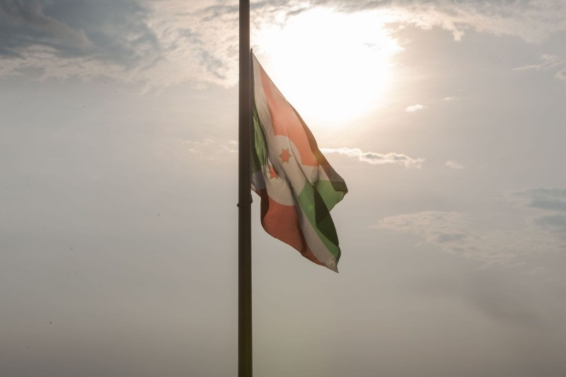 Burundi's national flag is set at half-mast at the state house as Burundi mourns the death of Burundian President Pierre Nkurunziza, in Bujumbura on June 10.