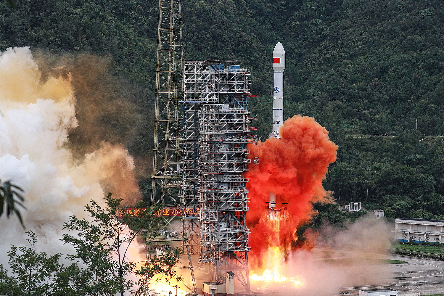 A Long March 3B rocket carrying the Beidou-3GEO3 satellite lifts off from the Xichang Satellite Launch Center in China's southwestern Sichuan province on June 23. STR/AFP via Getty Images