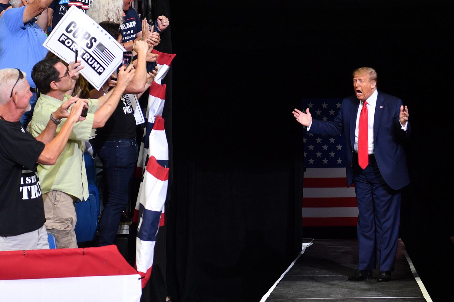 U.S. President Donald Trump arrives for a campaign rally at the BOK Center in Tulsa, Oklahoma, on June 20. It was his first political rally since the beginning of the pandemic. NICHOLAS KAMM/AFP via Getty Images