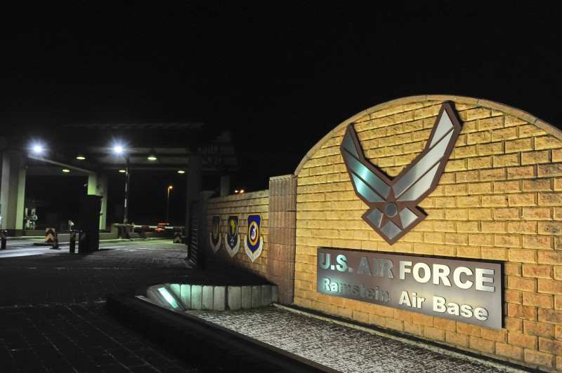 The U.S. Air Force logo is seen at the entrance of the U.S. air base in Ramstein, Germany on January 17, 2016.