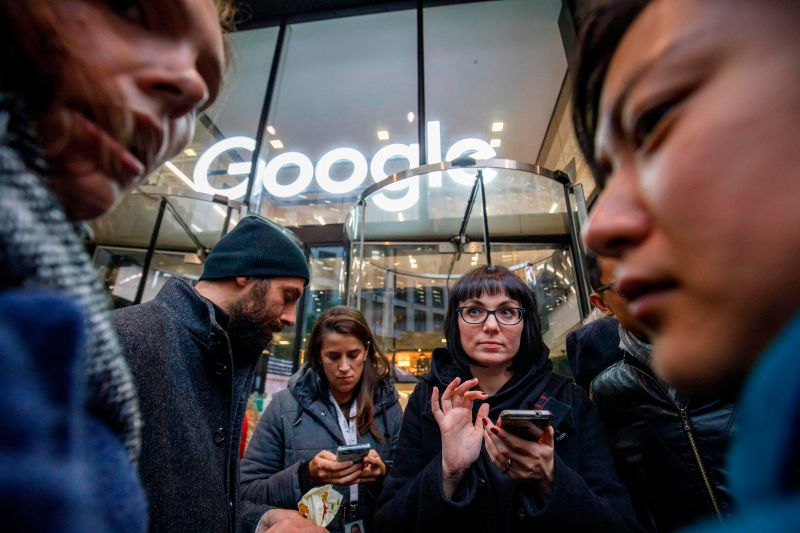 Google employees stage a walkout at the company's U.K. headquarters in London on Nov. 1, 2018 over the company's handling of sexual harassment.
