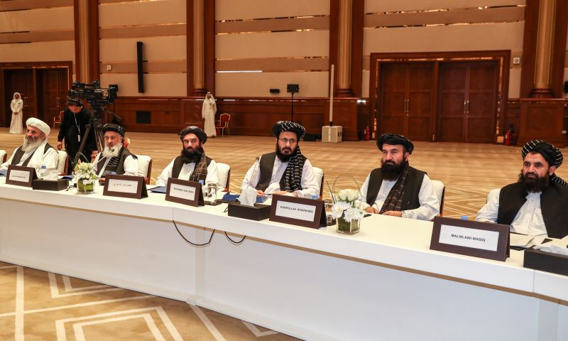 Taliban representatives attend the intra-Afghan dialogue talks in the Qatari capital of Doha on July 8, 2019.