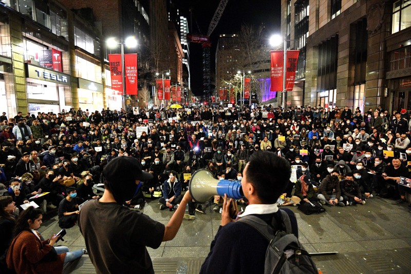 Supporters of Hong Kong pro-democracy protesters gather during a demonstration at Martin Place in Sydney on Aug. 16, 2019.