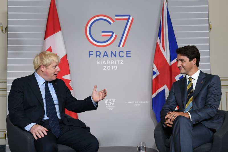 U.K. Prime Minister Boris Johnson, left, meets with Prime Minister of Canada Justin Trudeau