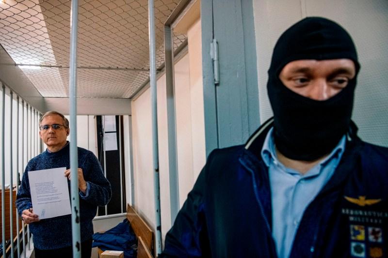 Former U.S. Marine Paul Whelan awaits a hearing in a Moscow court.