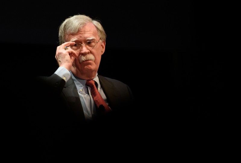 "Former National Security Advisor John Bolton discusses the ""current threats to national security"" during a forum moderated by Peter Feaver, the director of Duke's American Grand Strategy, at the Page Auditorium on the campus of Duke University on Feb. 17, 2020 in Durham, North Carolina."