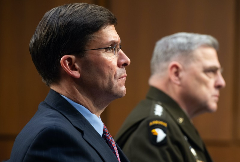 US Defense Secretary Mark Esper (L) and Chairman of the Joint Chiefs of Staff General Mark A. Milley, testify about the Defense department budget during a Senate Armed Services Committee hearing on Capitol Hill in Washington, DC, March 4, 2020.