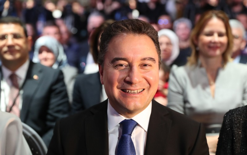 Ali Babacan presents his Democracy and Progress Party at a launching ceremony in Ankara on March 11, 2020.
