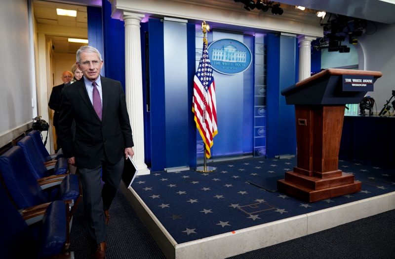 Director of the National Institute of Allergy and Infectious Diseases Anthony Fauci and others arrive for the daily briefing on the novel coronavirus in the White House in Washington on April 22.