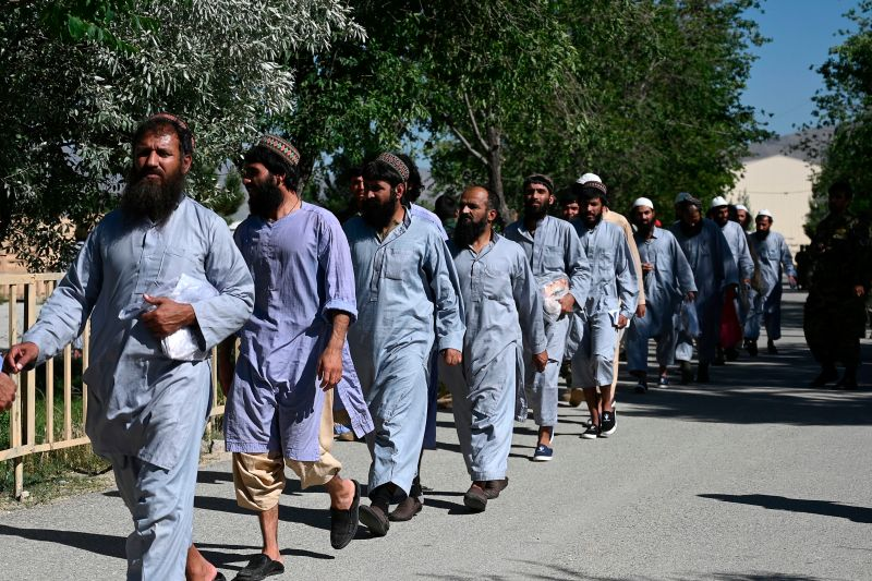 Taliban prisoners walk in line during their recent release from Bagram prison near Kabul on May 26.