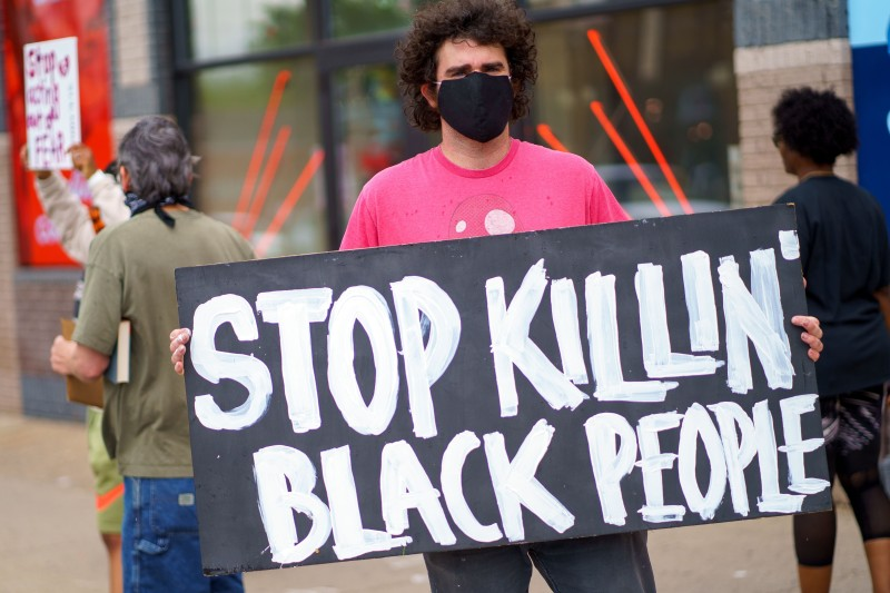 A protester near the site where George Floyd was killed while in police custody, on May 26 in Minneapolis.