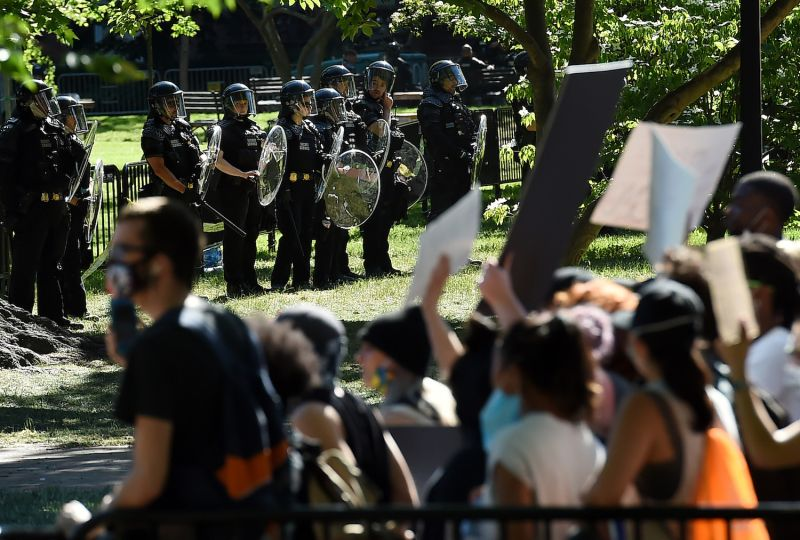 U.S. police stand by a protest near the White House.
