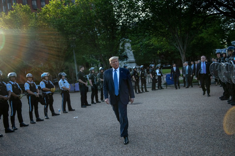 U.S. President Donald Trump leaves the White House to go to St. John's Church in Washington on June 1.