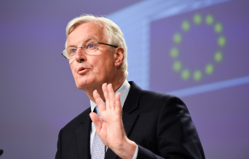 "European Commission chief negotiator Michel Barnier slams Britain for ""backtracking"" on its commitments after another fruitless round of talks, at a press conference in Brussels on June 5."