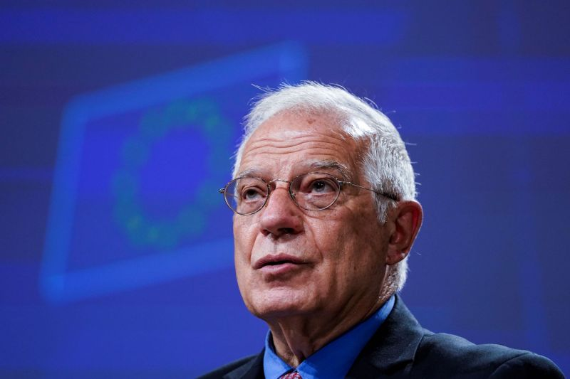 EU foreign affairs chief Josep Borrell, who slammed U.S. pretensions to still have a voice in the fate of the Iran deal, speaks to reporters in Brussels on June 9.