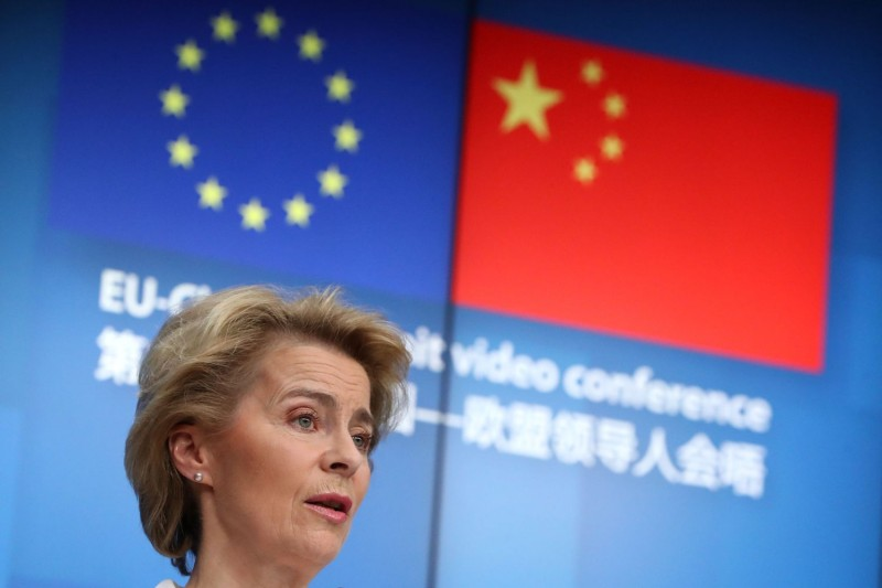 European Commission President Ursula von der Leyen speaks during a news conference following a virtual summit with Chinese President Xi Jinping in Brussels on June 22.