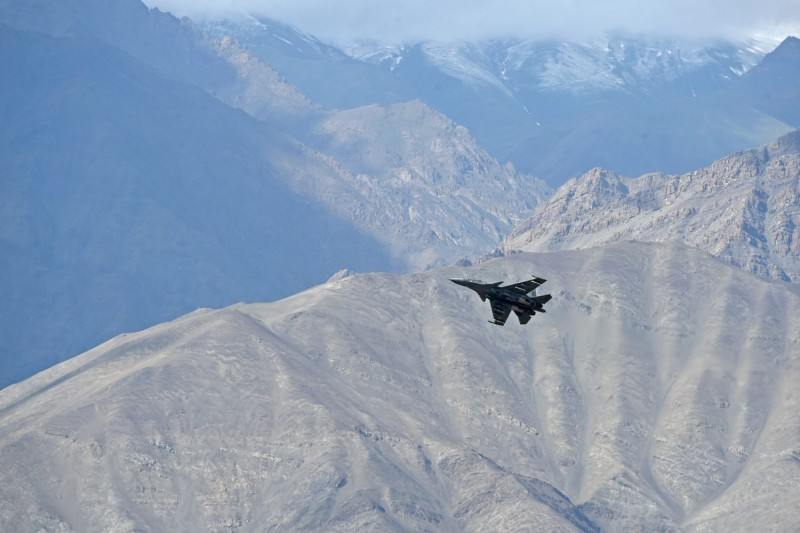 An Indian fighter jet flies over Leh near the Indian-Chinese border
