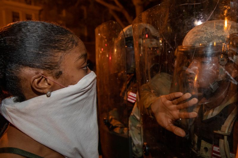 Police work to keep demonstrators back during a protest in Lafayette Square in Washington on May 30.