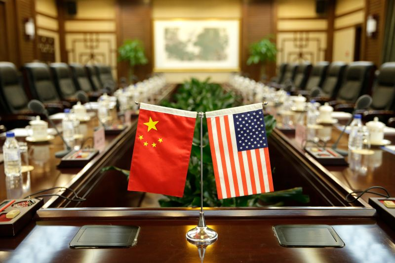 Flags of the United States and China are placed ahead of a meeting between U.S. Agriculture Secretary Sonny Perdue and his Chinese counterpart, Han Changfu, at the Ministry of Agriculture in Beijing on June 30, 2017.
