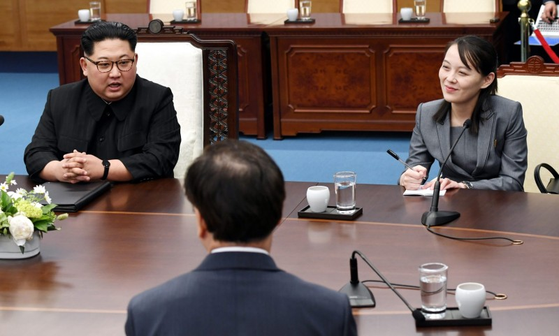 North Korean leader Kim Jong Un, left, and his sister Kim Yo Jong attend the Inter-Korean Summit at the Peace House in Panmunjom, South Korea, on April 27, 2018.